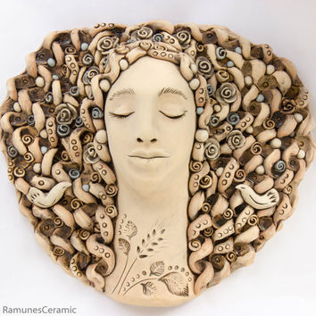 Ceramic Wall Art Rustic Decoration Women Face Sculpture From Clay Decal Hanging
