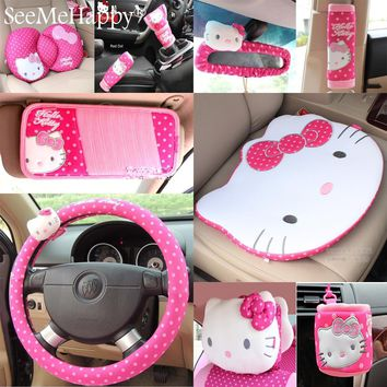 Hello Kitty Car-Styling Car Interior Accessories Hello Kitty Car Steering Wheel Cover Safty Belt Handbrake Gears Cover