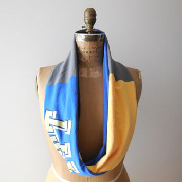 University of Pittsburgh T Shirt Infinity Scarf / PITT / Blue / Gray / Gold / Upcycled / Recycled / Winter / Cotton / Handmade / ohzie