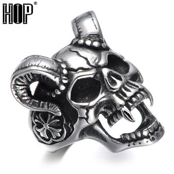 HIP Punk Gothic Casting Evil Damn Vampire Goat Head Bone Ring Titanium Stainless Steel Skull Ring