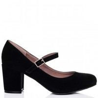 IOWA Block Heel Loafer Shoes - Black Suede Style