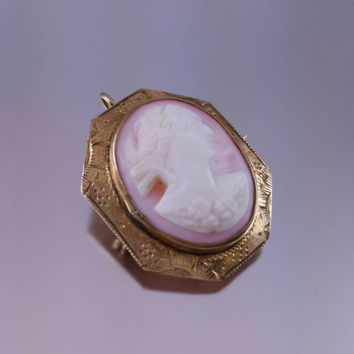 10k Gold Cameo Pin Pendant Carved Pink Shell White Cameo Etched Yellow Gold Vintage Cameo Jewelry