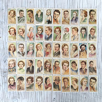 Player's Film Stars cigarette card set: 48/50 film stars from the 1930s. Collectable cigarette cards.