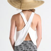 Bonnie Criss Cross Back White Top