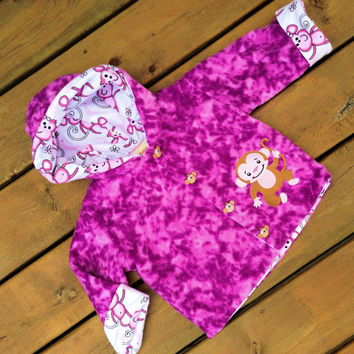 Children's Jacket Hoodie ( Handmade Flannel Lined pink Fleece monkey hoody with deer buttons and Hood ) - Children's Size 1