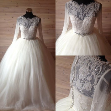 Luxury Handwork Long Sleeve Soft French Lace Beads Puffy Ball Gown Crystal Belts Wedding Dress
