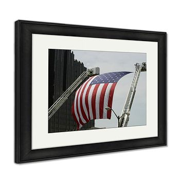 Framed Print, An Large American Flag Hanging Between Firefighter Truck Ladders