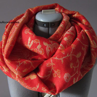 Red Gold Pashmina Women's Floral Infinity Scarf