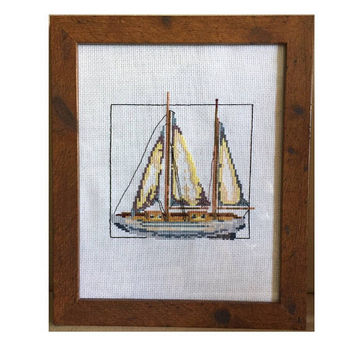 Completed cross stitch, Finished cross stitch, Nautical wall decor, sailboat wall art, Coastal decor, hand stitched, gift for him