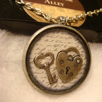 Key to My Heart Steampunk Pendant Necklace with Tiny Heart Key and Heart Lock Over Script (1383)