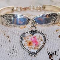 """Hand Painted Roses"" Silver Spoon Bracelet with  Broken China Jewelry Heart Charm in Braided Setting in Gift Box"