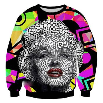 Cool Marilyn Monroe Dot Patchwork Print Sweatshirt For Women Funny Hoodie Creative 3D Grraphic Pullovers Plus Size 4XL 5XL Tops