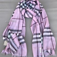 Burberry Check Scarf Lightweight Wool / Silk / Pink Heather NEW!