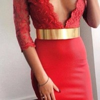 Red Flower Lace 3/4 Sleeve Bodycon Plunging Neckline Pencil Skirt Midi Dress