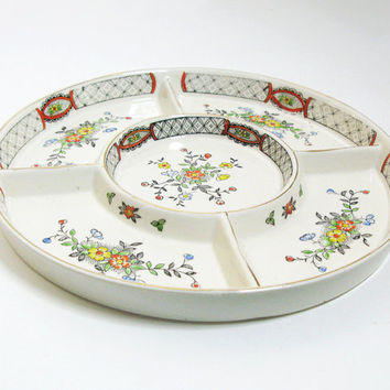 Vintage porcelain divided relish dish tidbit tray nut dish - 5-compartment floral serving tray dish - Made in Japan