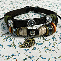 Fashion simple Leather Adjustable Bracelet Metal Leaf pendant Adjustable  hipster jewelry leather bracelet with wooden bead  Mens Womens