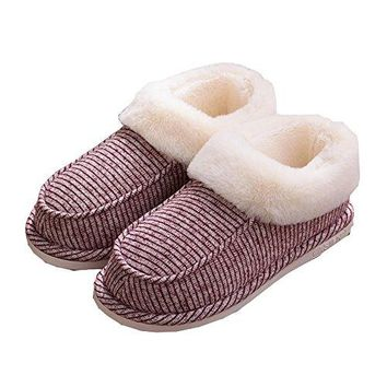 Qiucdzi Men and Women House Slippers Cozy Plush Lining Winter Slippers Indoor Outdoor AntiSlip Warm Shoes