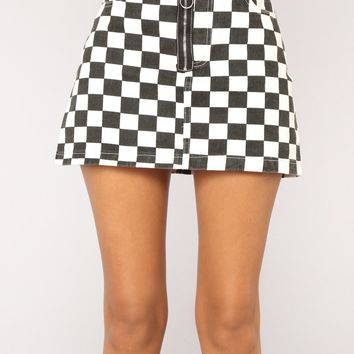 Check Her Out Mini Skirt - Black/White