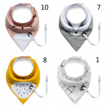 New Stylish Bibs With Pacifier Clip Chain Holder,Cotton Baby Bibs Double Layers Soft cartoon Newborn Burp Bib Kid Bandana