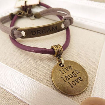 Inspirational words charm bracelet by trinketsforkeeps on Etsy