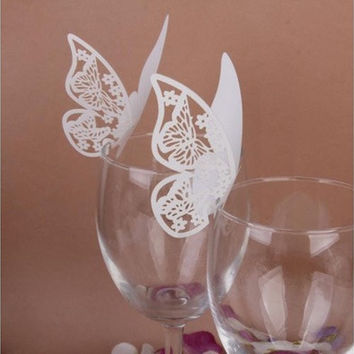50 pcs Table Mark Wine Glass Cards Favor Butterfly Name Place Party Wedding Topselling [7983576967]
