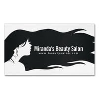 Black & White Long Hair Makeup Artist Hair Stylist Business Card