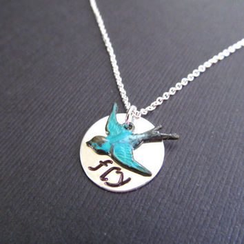 Graduation Gifts - STERLING FLY Necklace Blue Dove Blue Bird Necklace Everyday Jewelry