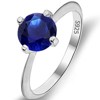 EVER FAITH 925 Sterling Silver Round Cut .46ct Solitaire Cubic Zirconia Blue Sapphire Color Ring Size 7