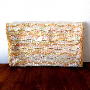 Sequin iridescent shimmery purse / rainbow / faux pearl / cream / vintage / 1960s / beaded / satin lined / envelope purse / small clutch bag