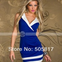 XDIAN 3 Colors 2014 New Pretty Women Mini Sheath Dresses Sexy Beauty Fashion Casual Dress Lingerie Deep V blue white red MN97 - DinoDirect.com