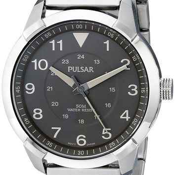 Pulsar PG2025 Men's Watch Gray Dial Large Silver Stainless Steel Case