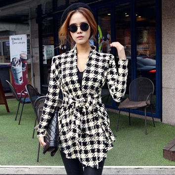 Fashion Women Winter Jacket Coat Long Sleeve Houndstooth Print Autumn Casual Clothing Slim Belt Peplum Cardigan Outerwear 0271