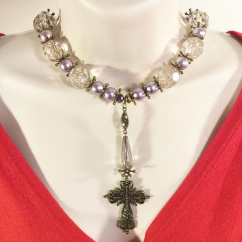 Purple and crystal beads with bronze cross necklace/Free shipping