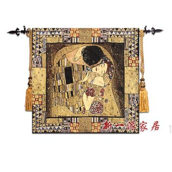 132x138cm Gustav Klimt - Kiss World Famous Painting Wall Tapestry Wall Hanging Belgium Bohemian Decor Moroccan Decor Wall Carpet