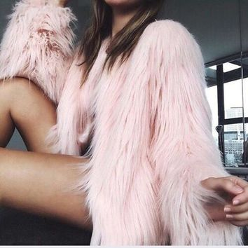 Pink Fur Irregular Round Neck Long Sleeve Fashion Coat