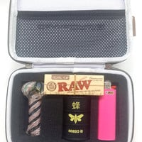 RIPD Chick Kit - CannaCASE Glass Pipe Case, Breaking Bad Container, Tobacco Pipe, Stash One Toke, BIC, RAW Rolling Papers, and Mini Grinder