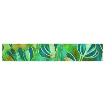 "Ebi Emporium ""Effloresence - Blue Green"" Teal Green Table Runner - Outlet Item"