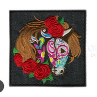Day of the Dead Horse Iron On Patch