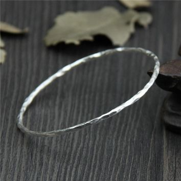 Sterling Silver Jewelry Thailand Chiang Mai Handmade Silver 999 sterling silver Bangles simple fashion bracelet fine children