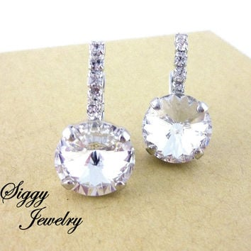 Classy and elegant Swarovski crystal earrings, 12mm drops, bridal wedding, embellished levers with diamond-like sparkle, Siggy Jewelry