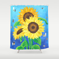 Sunflowers on Blue Shower Curtain by nJoyArt