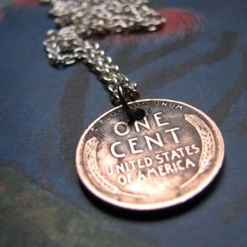 lucky penny necklace lucky wheat penny by friendlygesture on Etsy