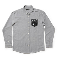 Quiet Life: Cosmos Oxford Pocket Long Sleeve Button Down Shirt - Grey