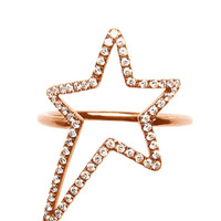 Diane Kordas 18K Rose Gold And White Diamonds Star Ring by Diane Kordas - Moda Operandi