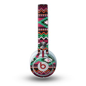 The Vector Green & Pink Aztec Pattern Skin for the Beats by Dre Mixr Headphones