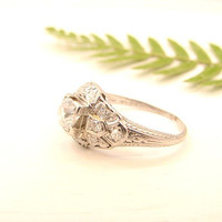 Art Deco Engagement Ring, Old Mine Cut Diamond, Lovely Engraving and Details, Platinum, Custom Sizing Included, Circa 1930s