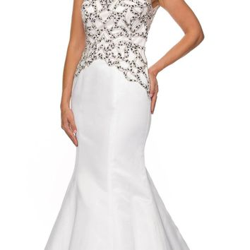 Juliet 624 Jeweled Bodice Mermaid Style Formal Gown Cut Out Back White