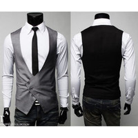 Men's Fitted Dress Vest for Suit or Tuxedo Tops V-Neck Three Tilt Buttons S M L
