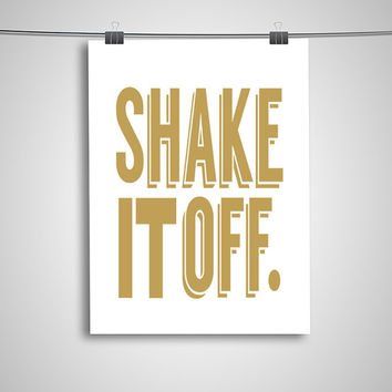 """Typography Poster """"Shake it Off"""" Motivational Inspirational Happy Print Wall Home Decor"""