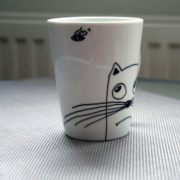 Tazas gatos Hand painted cup Hand painted cat mug cup Funny cat mugs Hand painted porcelain black cat cup Coffee mug cat Porcelain latte cup